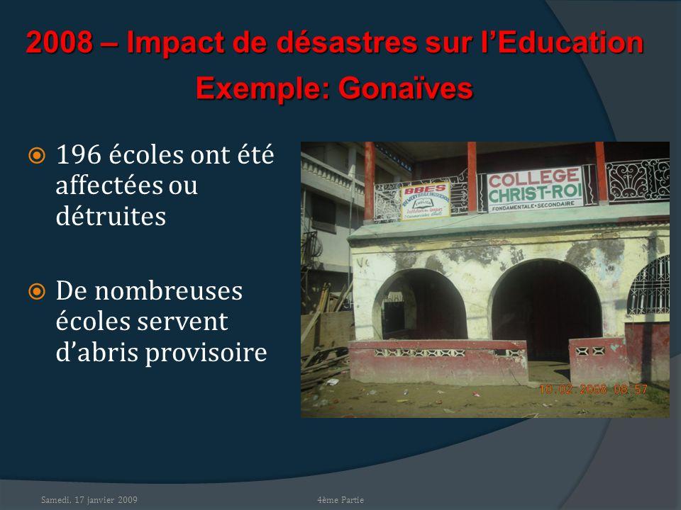 Samedi, 17 janvier 2009 2008 – Impact de désastres sur lEducation Exemple: Gonaïves 196 écoles ont été affectées ou détruites De nombreuses écoles servent dabris provisoire 4ème Partie