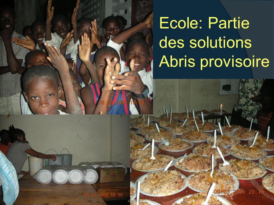 Samedi, 17 janvier 2009 Ecole: Partie des solutions Abris provisoire 4ème Partie