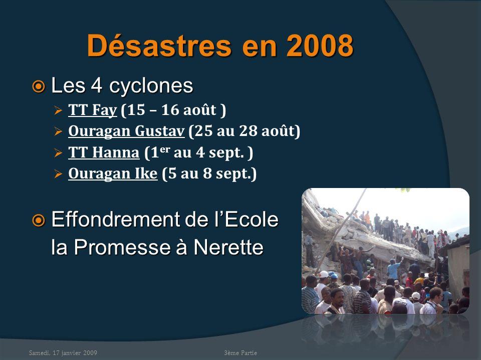 Samedi, 17 janvier 2009 Désastres en 2008 Les 4 cyclones Les 4 cyclones TT Fay (15 – 16 août ) Ouragan Gustav (25 au 28 août) TT Hanna (1 er au 4 sept.