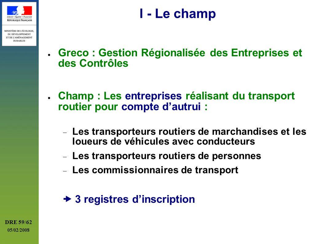 DRE 59/62 05/02/2008 I - Le champ Greco : Gestion Régionalisée des Entreprises et des Contrôles Champ : Les entreprises réalisant du transport routier