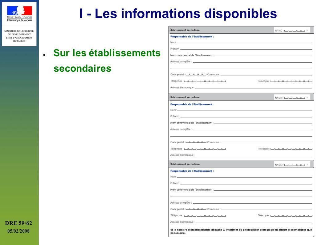 DRE 59/62 05/02/2008 I - Les informations disponibles Sur les établissements secondaires