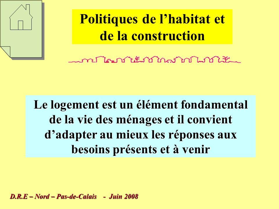 Politiques de lhabitat et de la construction Elles mobilisent des moyens financiers et techniques importants, il faut donc limiter le risque derreur Elles sont un élément constitutif de laménagement du territoire qui lui aussi est un processus de long terme D.R.E – Nord – Pas-de-Calais - Juin 2008