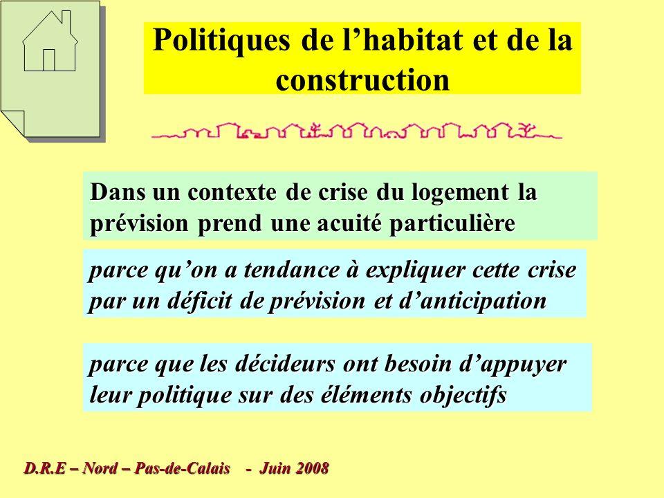 Le logement est un élément fondamental de la vie des ménages et il convient dadapter au mieux les réponses aux besoins présents et à venir Politiques de lhabitat et de la construction D.R.E – Nord – Pas-de-Calais - Juin 2008