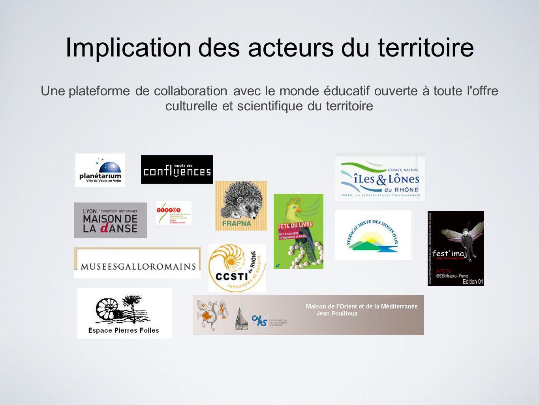 Implication des acteurs du territoire Une plateforme de collaboration avec le monde éducatif ouverte à toute l offre culturelle et scientifique du territoire