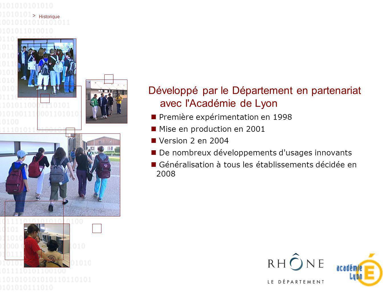 > Historique Développé par le Département en partenariat avec l Académie de Lyon Première expérimentation en 1998 Mise en production en 2001 Version 2 en 2004 De nombreux développements d usages innovants Généralisation à tous les établissements décidée en 2008