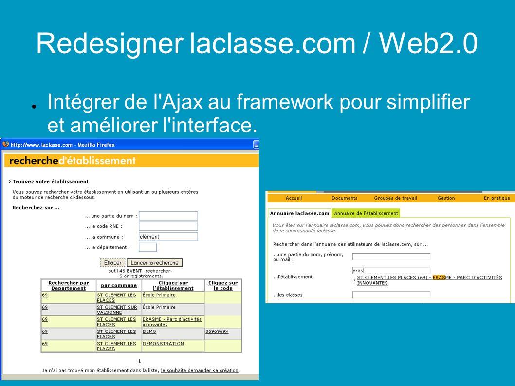 Redesigner laclasse.com / Web2.0 Intégrer de l Ajax au framework pour simplifier et améliorer l interface.