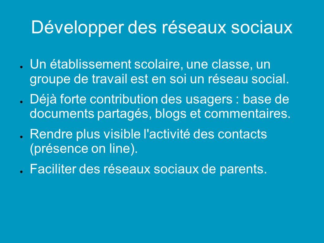 Développer des réseaux sociaux Un établissement scolaire, une classe, un groupe de travail est en soi un réseau social.