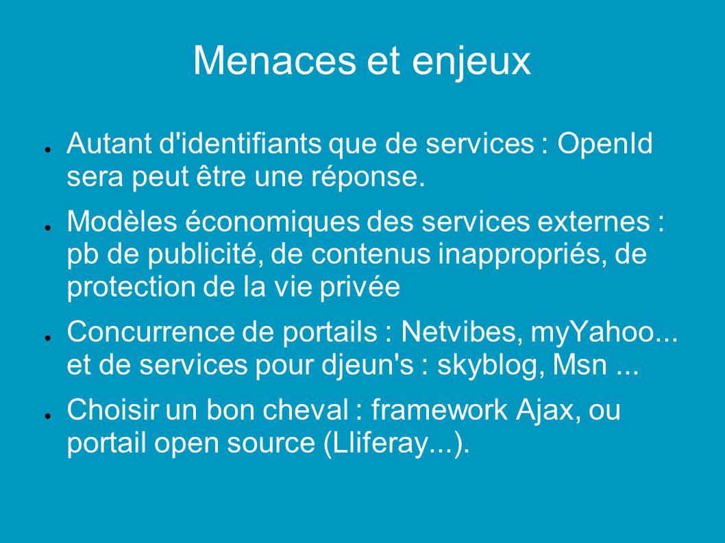 Menaces et enjeux Autant d identifiants que de services : OpenId sera peut être une réponse.