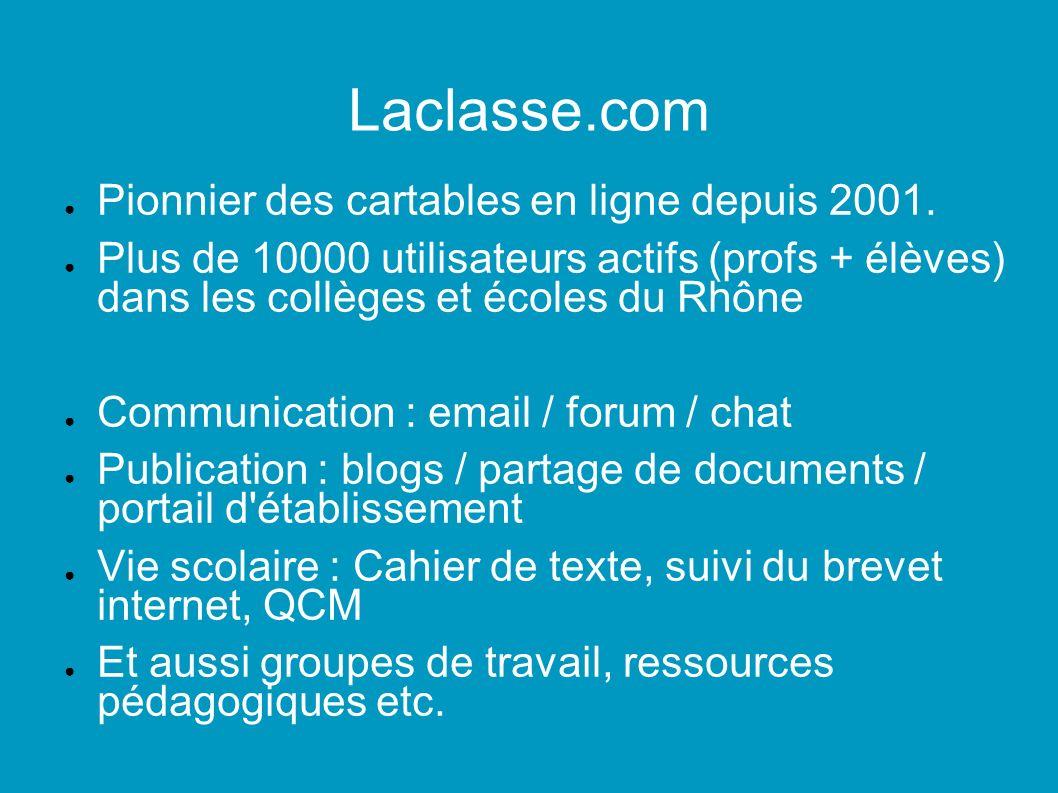 Laclasse.com Pionnier des cartables en ligne depuis 2001.