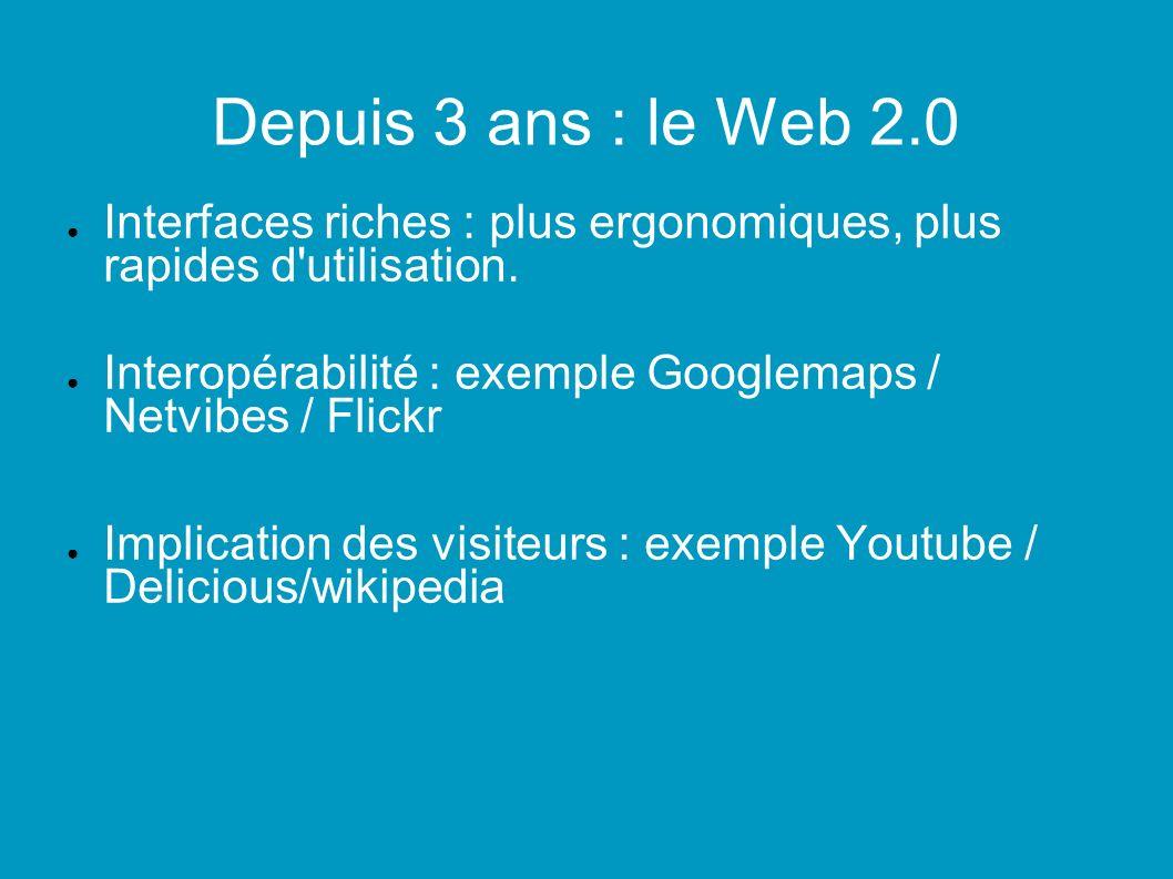 Depuis 3 ans : le Web 2.0 Interfaces riches : plus ergonomiques, plus rapides d utilisation.