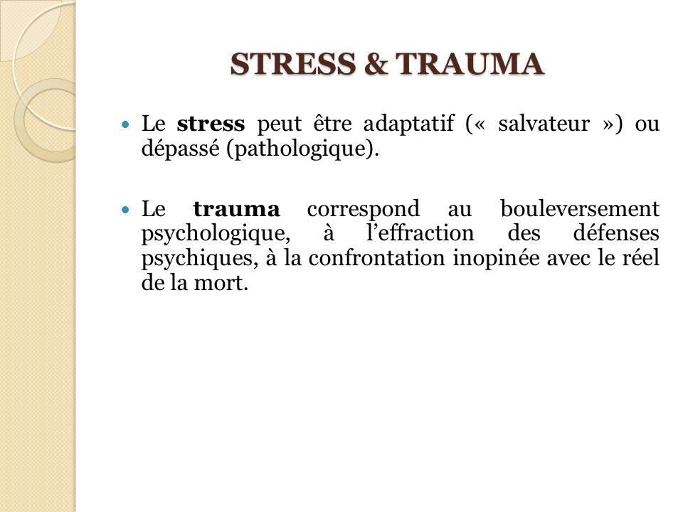 STRESS & TRAUMA Le stress peut être adaptatif (« salvateur ») ou dépassé (pathologique). Le trauma correspond au bouleversement psychologique, à leffr