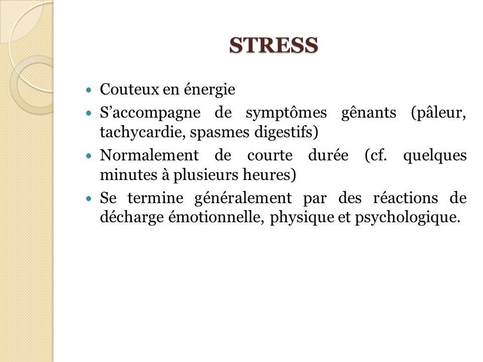 STRESS Couteux en énergie Saccompagne de symptômes gênants (pâleur, tachycardie, spasmes digestifs) Normalement de courte durée (cf. quelques minutes