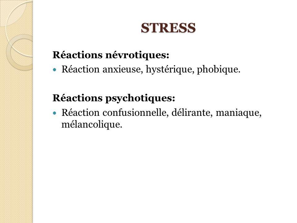 STRESS Réactions névrotiques: Réaction anxieuse, hystérique, phobique. Réactions psychotiques: Réaction confusionnelle, délirante, maniaque, mélancoli