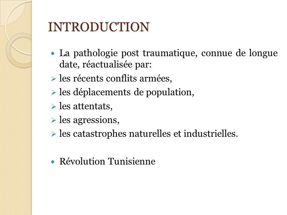 INTRODUCTION La pathologie post traumatique, connue de longue date, réactualisée par: les récents conflits armées, les déplacements de population, les