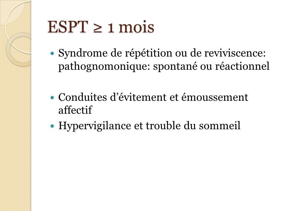 ESPT 1 mois Syndrome de répétition ou de reviviscence: pathognomonique: spontané ou réactionnel Conduites dévitement et émoussement affectif Hypervigi