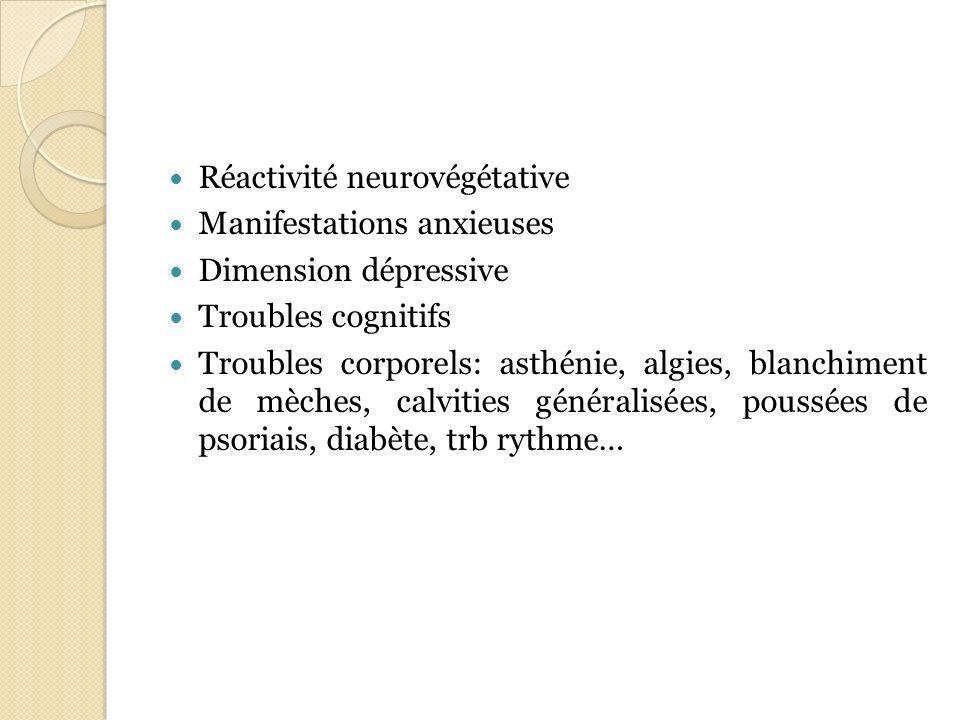 Réactivité neurovégétative Manifestations anxieuses Dimension dépressive Troubles cognitifs Troubles corporels: asthénie, algies, blanchiment de mèche