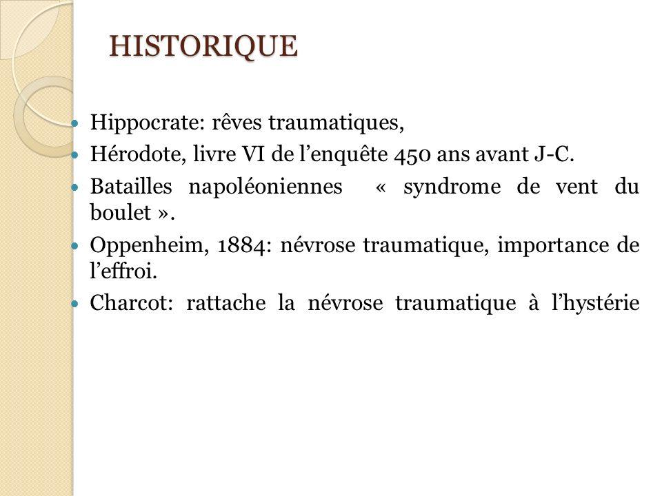 HISTORIQUE Hippocrate: rêves traumatiques, Hérodote, livre VI de lenquête 450 ans avant J-C. Batailles napoléoniennes « syndrome de vent du boulet ».