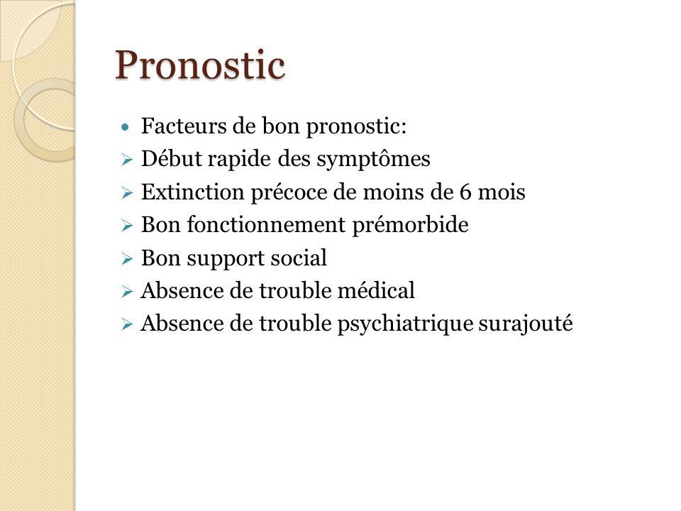 Pronostic Facteurs de bon pronostic: Début rapide des symptômes Extinction précoce de moins de 6 mois Bon fonctionnement prémorbide Bon support social