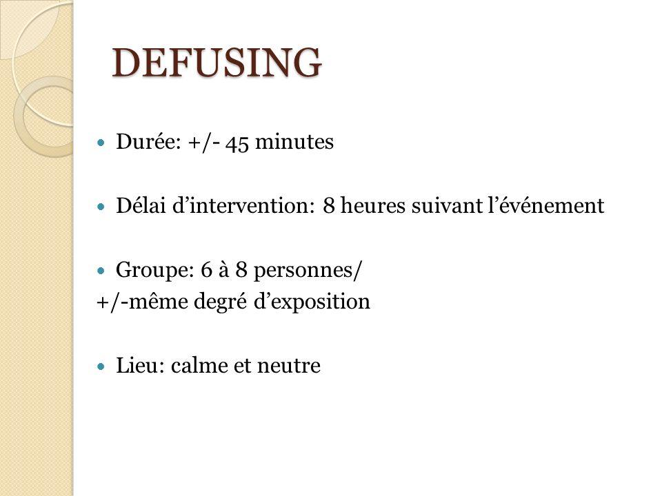 DEFUSING Durée: +/- 45 minutes Délai dintervention: 8 heures suivant lévénement Groupe: 6 à 8 personnes/ +/-même degré dexposition Lieu: calme et neut