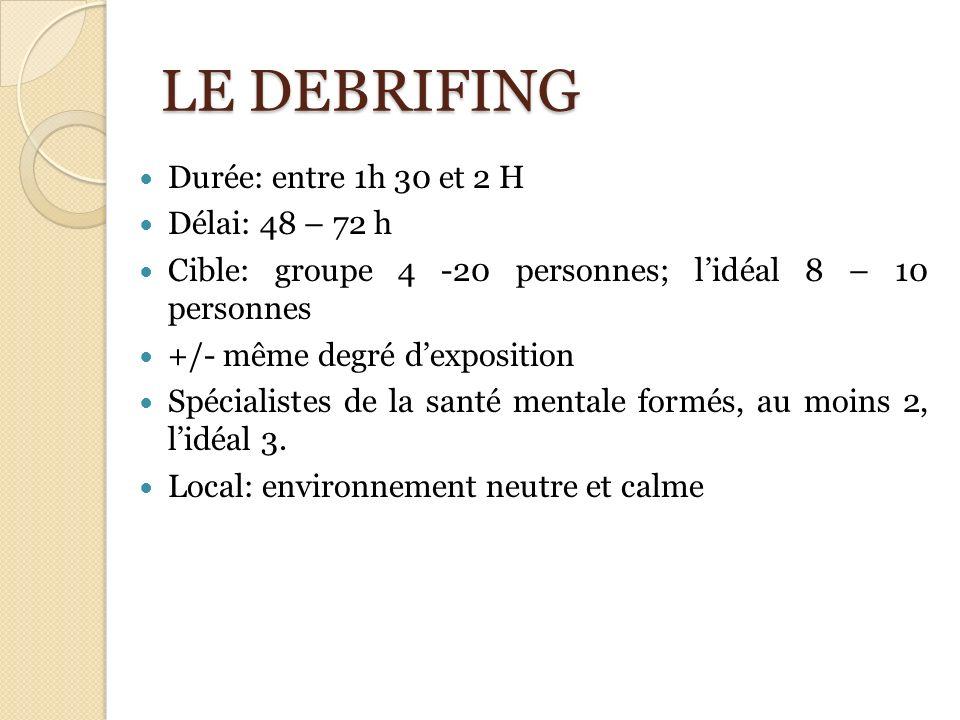 LE DEBRIFING Durée: entre 1h 30 et 2 H Délai: 48 – 72 h Cible: groupe 4 -20 personnes; lidéal 8 – 10 personnes +/- même degré dexposition Spécialistes