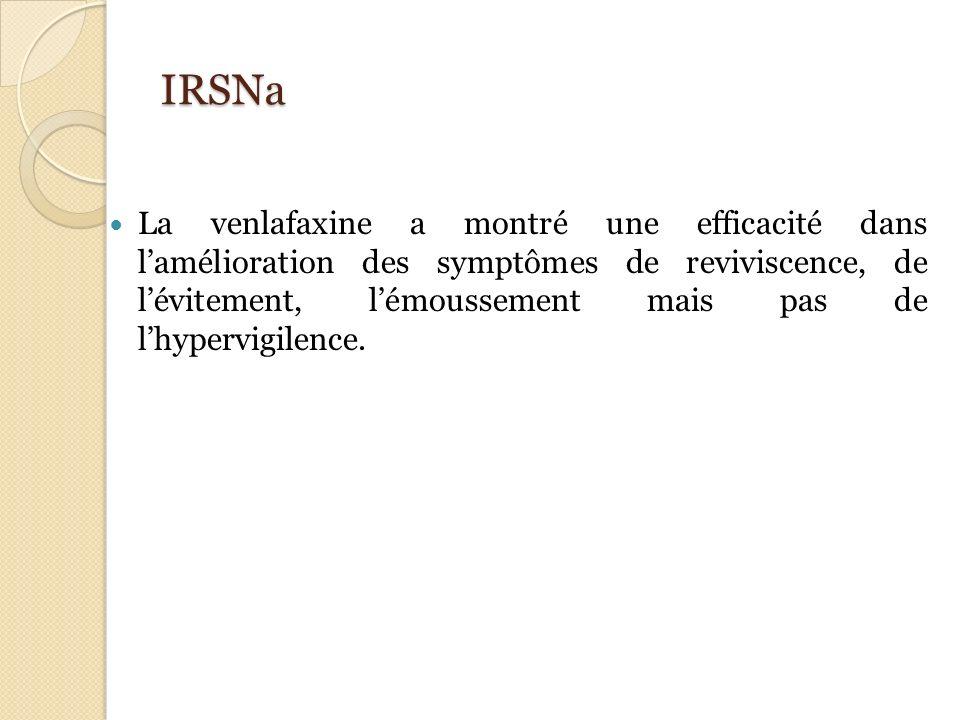 IRSNa La venlafaxine a montré une efficacité dans lamélioration des symptômes de reviviscence, de lévitement, lémoussement mais pas de lhypervigilence