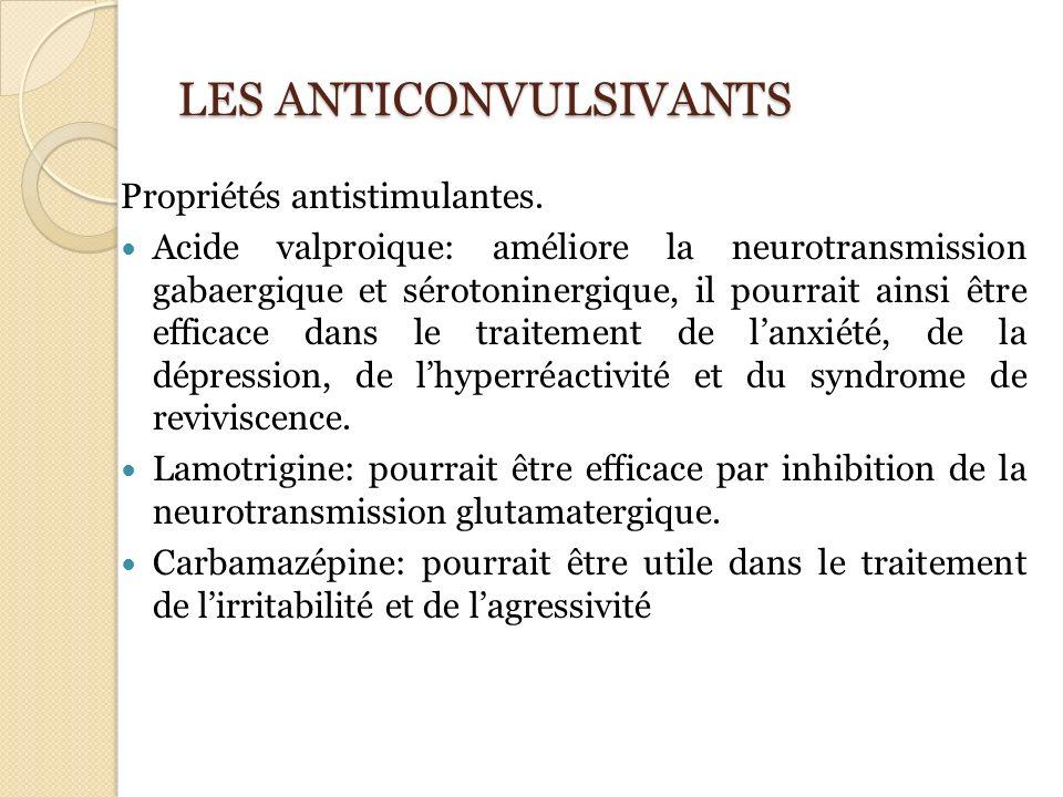 LES ANTICONVULSIVANTS Propriétés antistimulantes. Acide valproique: améliore la neurotransmission gabaergique et sérotoninergique, il pourrait ainsi ê