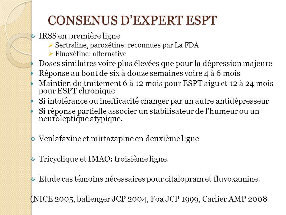 CONSENUS DEXPERT ESPT IRSS en première ligne Sertraline, paroxétine: reconnues par La FDA Fluoxétine: alternative Doses similaires voire plus élevées