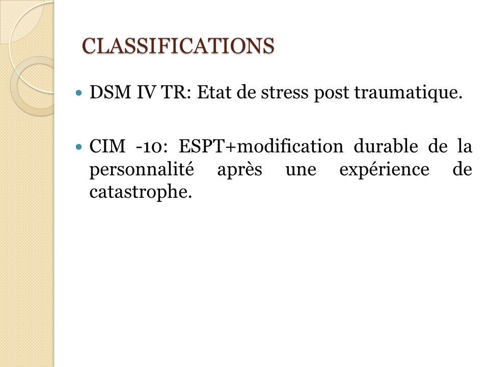ESPT 1 mois Syndrome de répétition ou de reviviscence: pathognomonique: spontané ou réactionnel Conduites dévitement et émoussement affectif Hypervigilance et trouble du sommeil