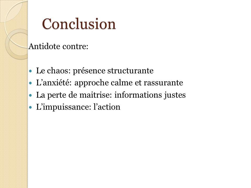 Conclusion Antidote contre: Le chaos: présence structurante Lanxiété: approche calme et rassurante La perte de maitrise: informations justes Limpuissa