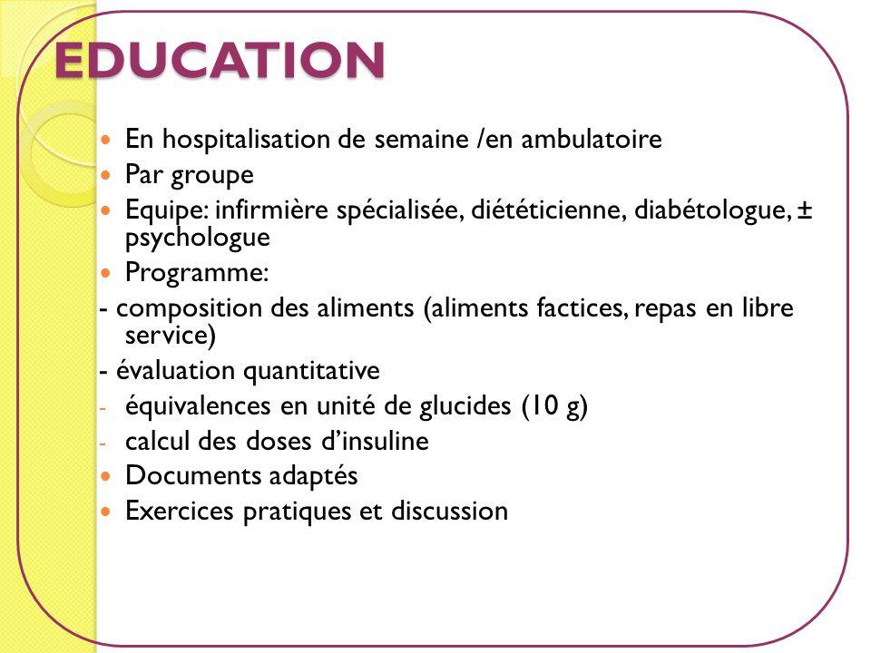 EDUCATION En hospitalisation de semaine /en ambulatoire Par groupe Equipe: infirmière spécialisée, diététicienne, diabétologue, ± psychologue Programm