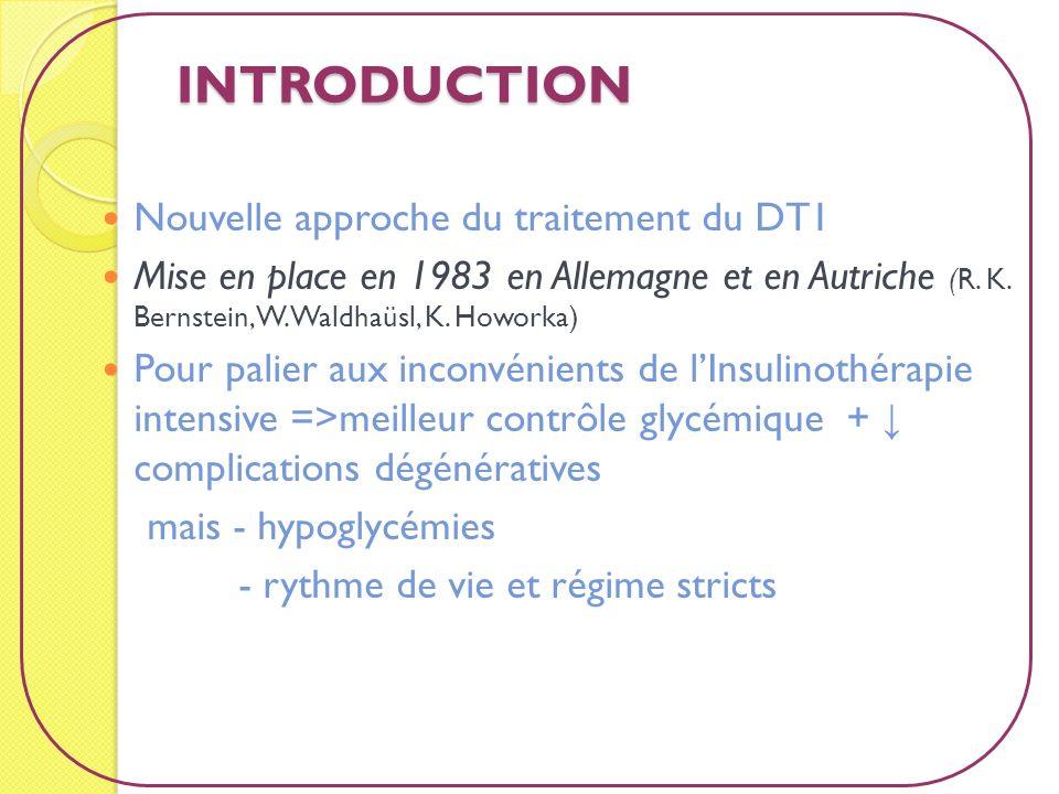 INTRODUCTION Nouvelle approche du traitement du DT1 Mise en place en 1983 en Allemagne et en Autriche (R. K. Bernstein, W. Waldhaüsl, K. Howorka) Pour