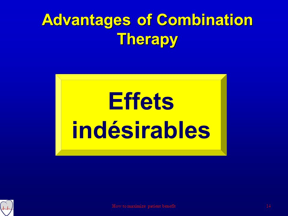 Advantages of Combination Therapy Effets indésirables 14How to maximize patient benefit
