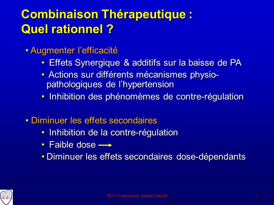 Combinaison Thérapeutique : Quel rationnel ? 7 How to maximize patient benefit Augmenter lefficacité Augmenter lefficacité Effets Synergique & additif
