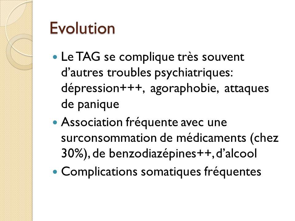Evolution Le TAG se complique très souvent dautres troubles psychiatriques: dépression+++, agoraphobie, attaques de panique Association fréquente avec une surconsommation de médicaments (chez 30%), de benzodiazépines++, dalcool Complications somatiques fréquentes