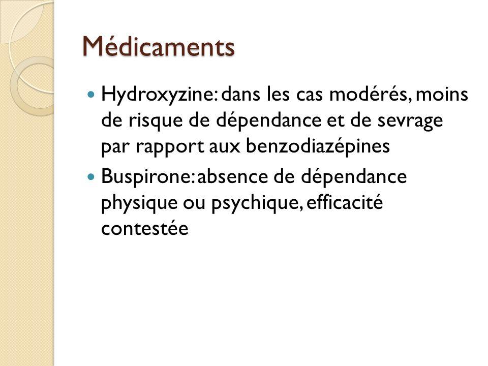 Médicaments Hydroxyzine: dans les cas modérés, moins de risque de dépendance et de sevrage par rapport aux benzodiazépines Buspirone: absence de dépendance physique ou psychique, efficacité contestée