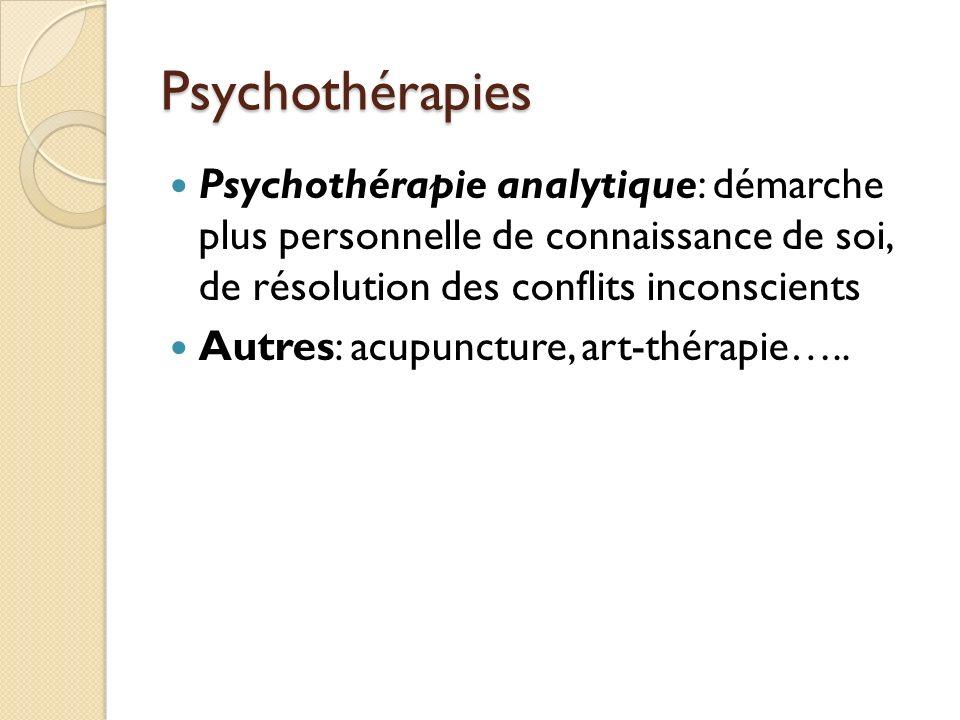 Psychothérapies Psychothérapie analytique: démarche plus personnelle de connaissance de soi, de résolution des conflits inconscients Autres: acupuncture, art-thérapie…..