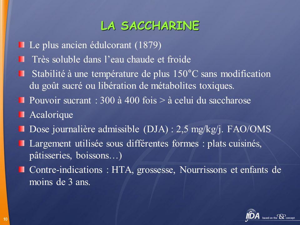10 LA SACCHARINE Le plus ancien édulcorant (1879) Très soluble dans leau chaude et froide Stabilité à une température de plus 150°C sans modification