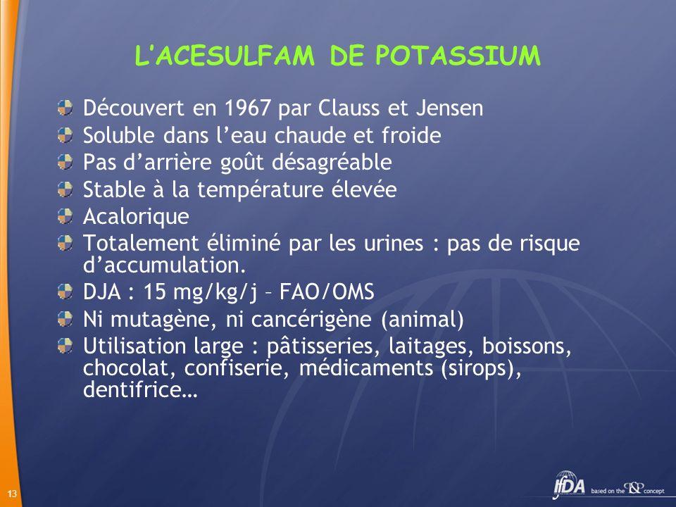 13 LACESULFAM DE POTASSIUM Découvert en 1967 par Clauss et Jensen Soluble dans leau chaude et froide Pas darrière goût désagréable Stable à la tempéra