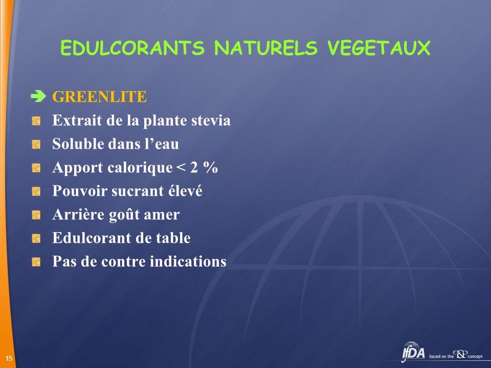 15 EDULCORANTS NATURELS VEGETAUX GREENLITE Extrait de la plante stevia Soluble dans leau Apport calorique < 2 % Pouvoir sucrant élevé Arrière goût ame