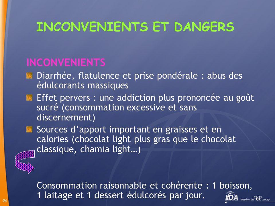24 INCONVENIENTS ET DANGERS INCONVENIENTS Diarrhée, flatulence et prise pondérale : abus des édulcorants massiques Effet pervers : une addiction plus