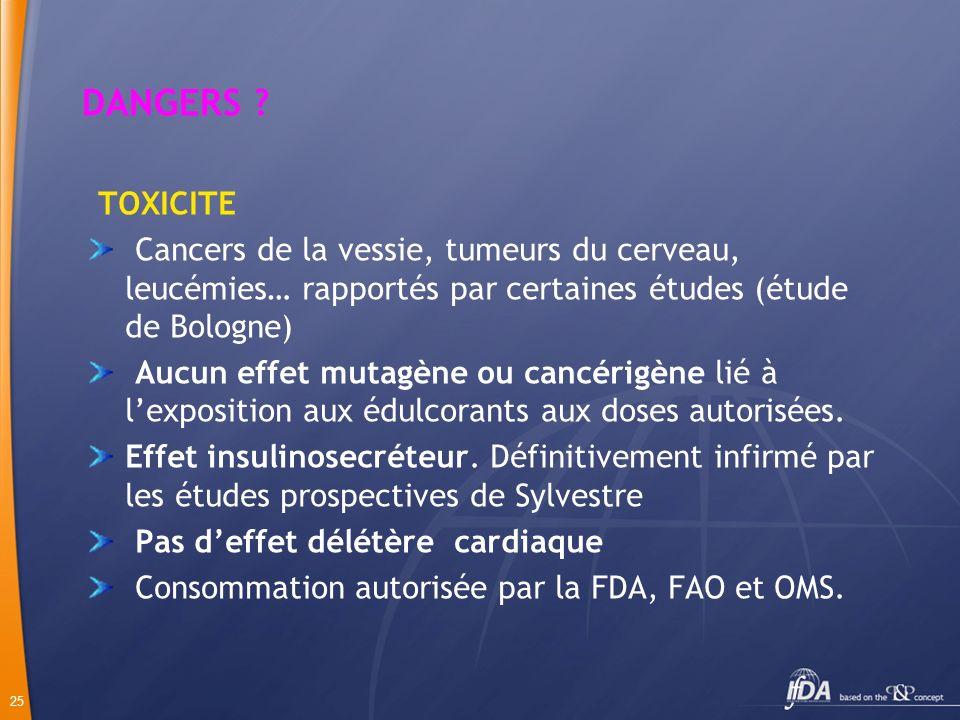 25 DANGERS ? TOXICITE Cancers de la vessie, tumeurs du cerveau, leucémies… rapportés par certaines études (étude de Bologne) Aucun effet mutagène ou c