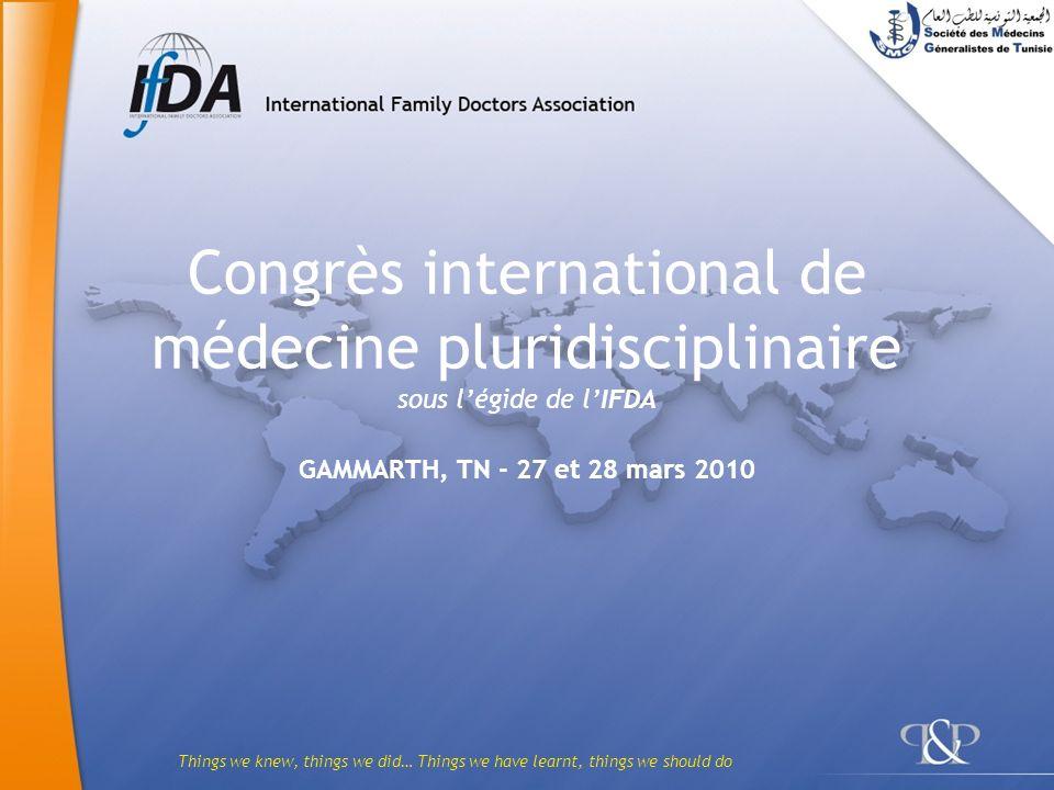 Things we knew, things we did… Things we have learnt, things we should do Congrès international de médecine pluridisciplinaire sous légide de lIFDA GA
