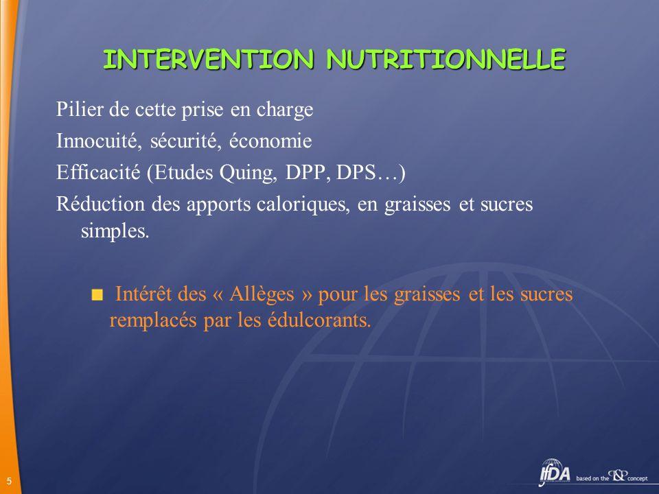 5 INTERVENTIONNUTRITIONNELLE INTERVENTION NUTRITIONNELLE Pilier de cette prise en charge Innocuité, sécurité, économie Efficacité (Etudes Quing, DPP,