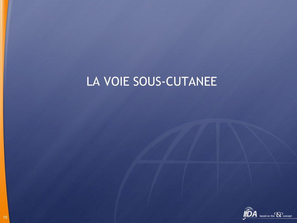 15 LA VOIE SOUS-CUTANEE