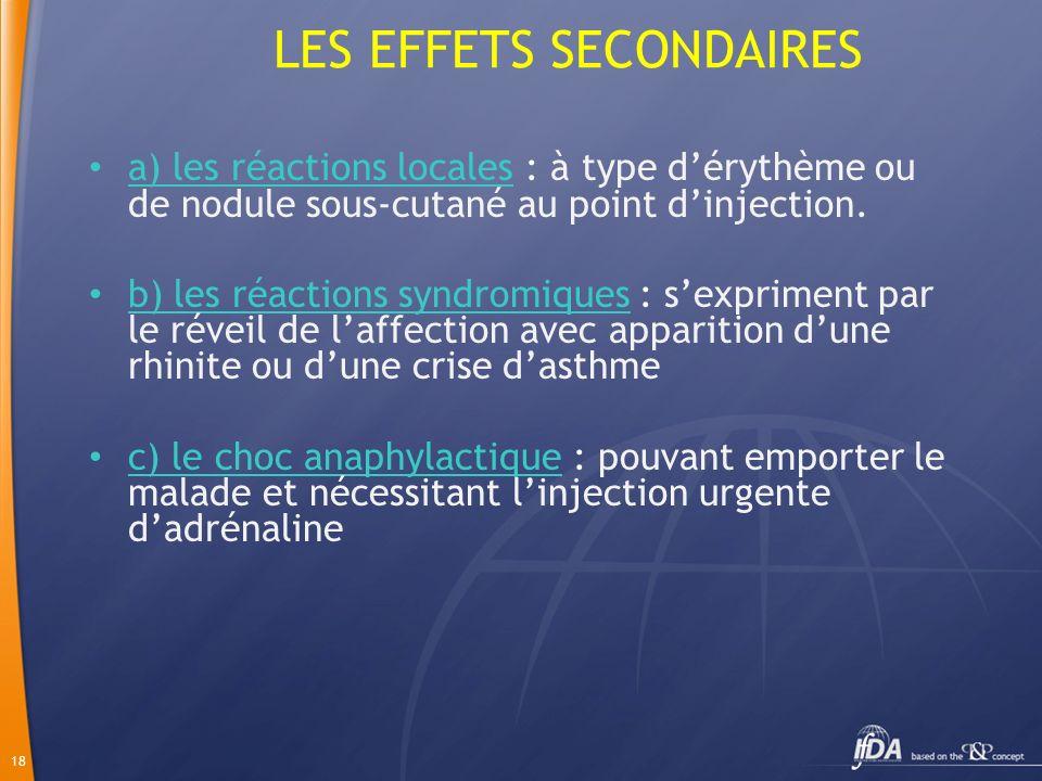 18 LES EFFETS SECONDAIRES a) les réactions locales : à type dérythème ou de nodule sous-cutané au point dinjection. b) les réactions syndromiques : se
