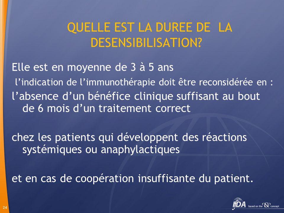 24 QUELLE EST LA DUREE DE LA DESENSIBILISATION? Elle est en moyenne de 3 à 5 ans lindication de limmunothérapie doit être reconsidérée en : labsence d