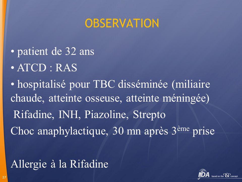 27 OBSERVATION patient de 32 ans ATCD : RAS hospitalisé pour TBC disséminée (miliaire chaude, atteinte osseuse, atteinte méningée) Rifadine, INH, Piaz