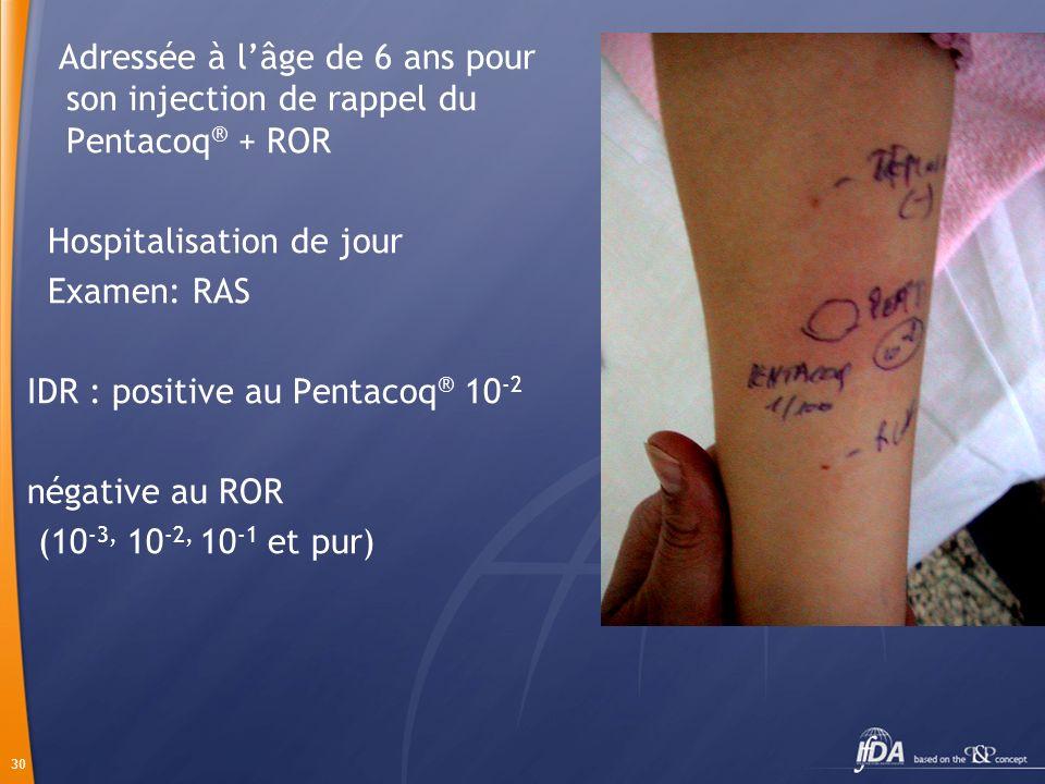 30 Adressée à lâge de 6 ans pour son injection de rappel du Pentacoq ® + ROR Hospitalisation de jour Examen: RAS IDR : positive au Pentacoq ® 10 -2 né