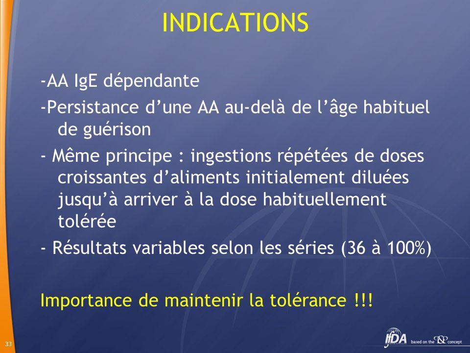 33 INDICATIONS -AA IgE dépendante -Persistance dune AA au-delà de lâge habituel de guérison - Même principe : ingestions répétées de doses croissantes