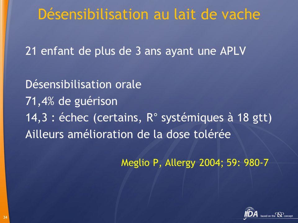 34 Désensibilisation au lait de vache 21 enfant de plus de 3 ans ayant une APLV Désensibilisation orale 71,4% de guérison 14,3 : échec (certains, R° s